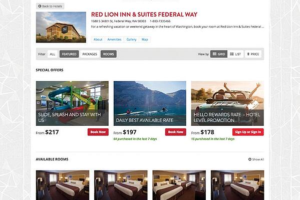 Red Lion Hotels booking engine